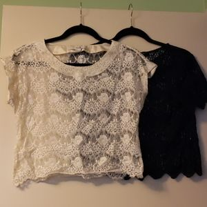 ** 2 for $20 ** Forever 21 - Crochet Cropped Tees